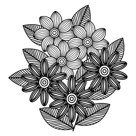 beautiful flowers drawing monochrome vector illustration design