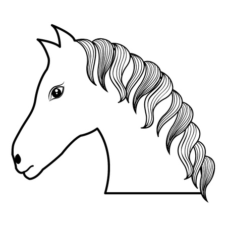 horse drawing isolated icon vector illustration design Vettoriali