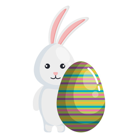 egg paint with cute bunny easter decoration vector illustration design