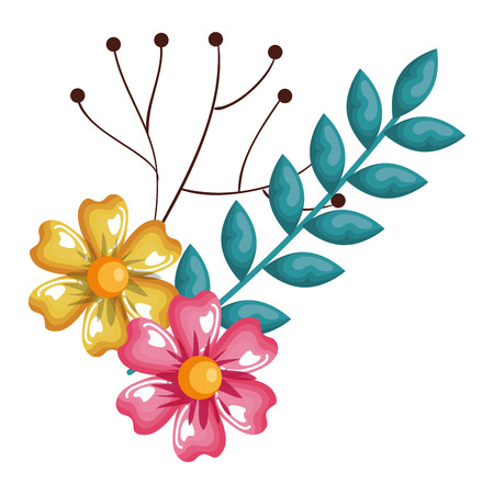 flowers and leafs decorative icon vector illustration design Illustration