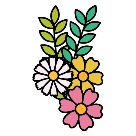 Flowers and leaves decorative icon vector illustration design. Illustration
