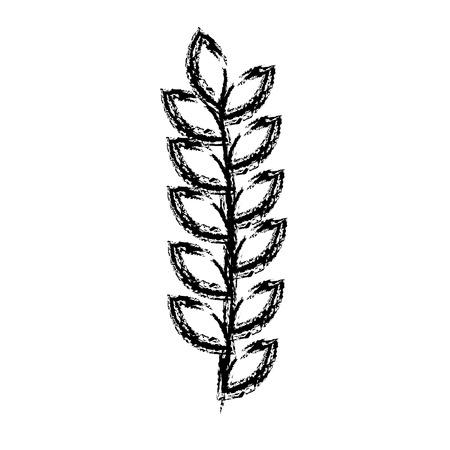 잎 그리기 흑백 아이콘 벡터 일러스트 레이 션 디자인