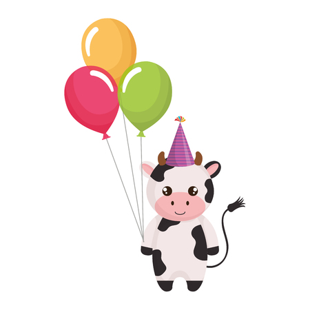 cute and little cow with hat and balloons air vector illustration design