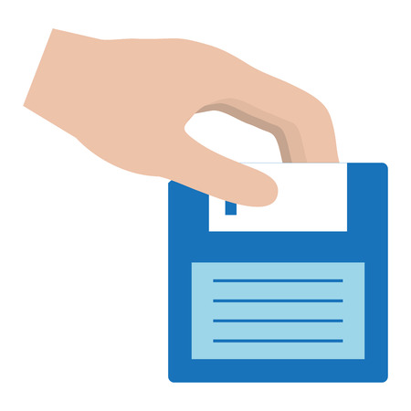 Hand with floppy disk retro icon vector illustration design. Illustration