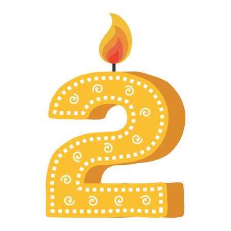 birthday candle with number two vector illustration design