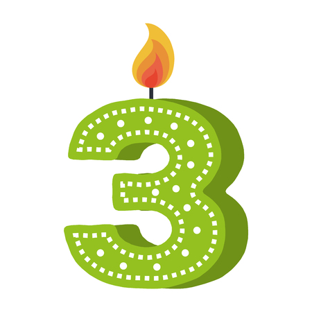 birthday candle with number three vector illustration design