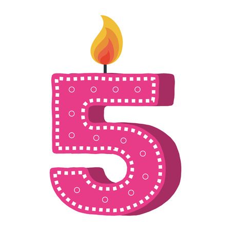 birthday candle with number five vector illustration design Ilustrace