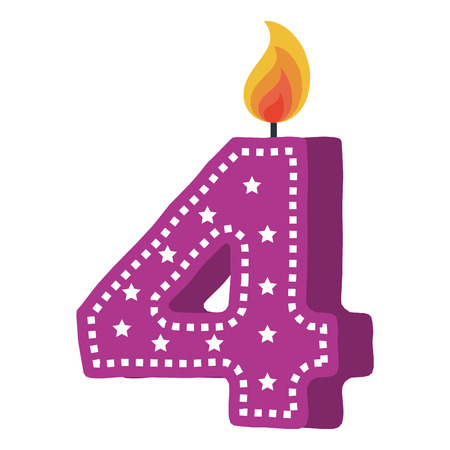 birthday candle with number four vector illustration design