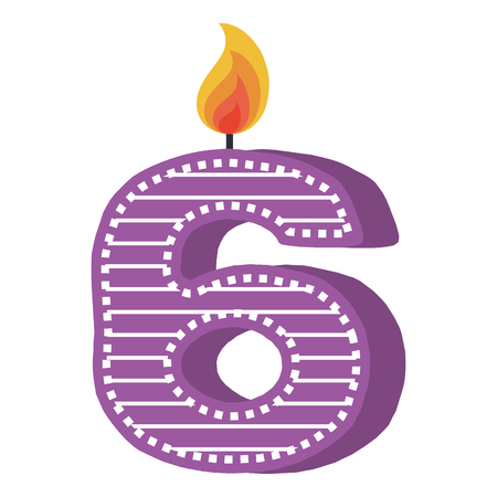 birthday candle with number six vector illustration design