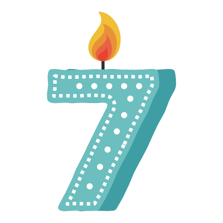 birthday candle with number seven vector illustration design Иллюстрация