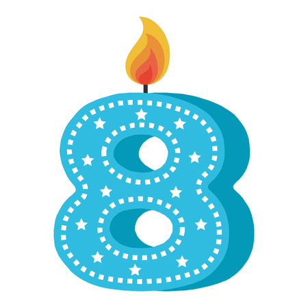 birthday candle with number eight vector illustration design