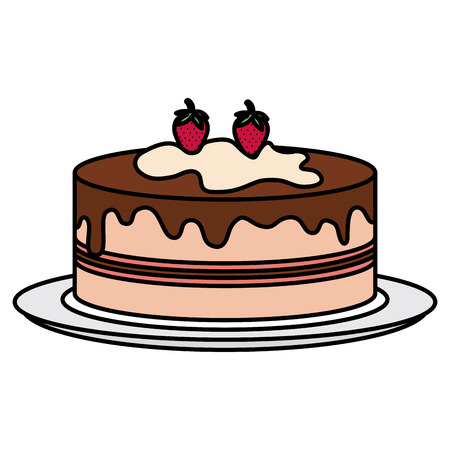 Dish with delicious cake celebration vector illustration design.