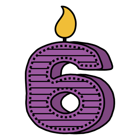 Number six birthday candle icon Vettoriali