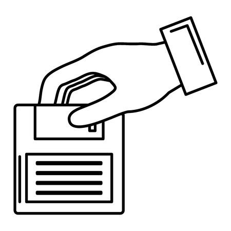 hand with floppy disk retro icon vector illustration design Stok Fotoğraf - 99662272