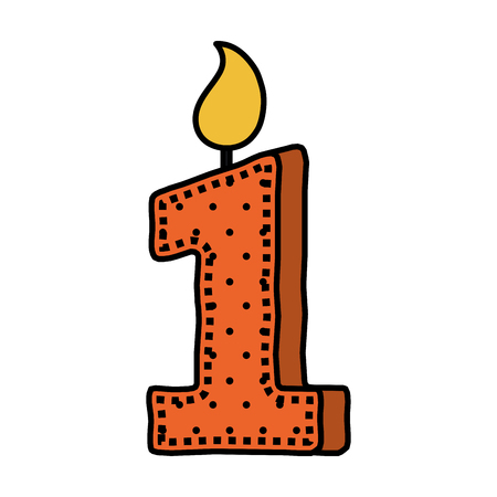 birthday candle with number one vector illustration design