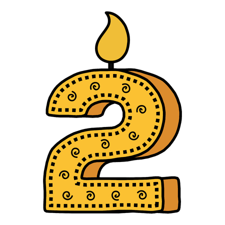 Number two birthday candle icon Illustration
