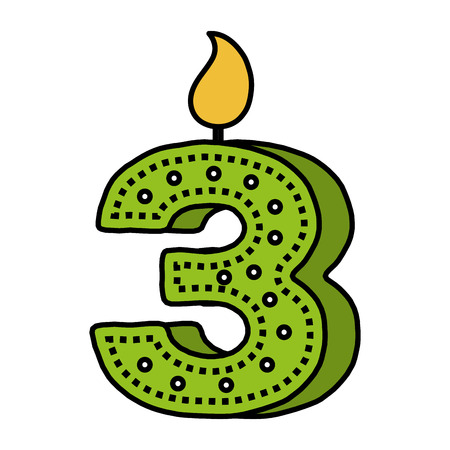 Number three birthday candle icon