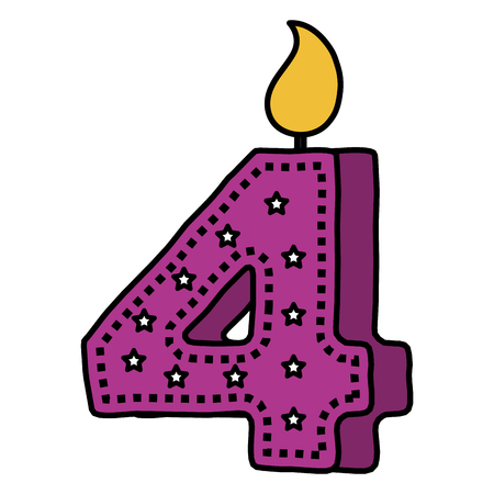 Number four birthday candle icon Иллюстрация