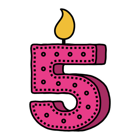 Number five birthday candle icon
