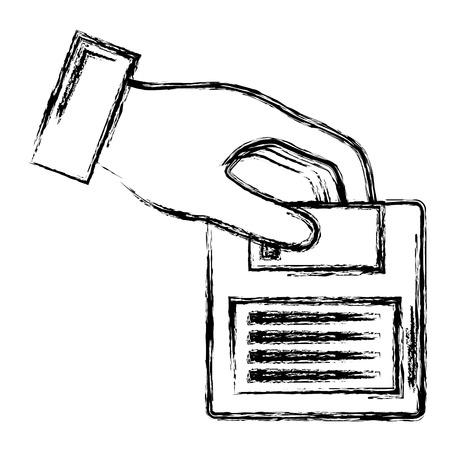 hand with floppy disk retro icon vector illustration design