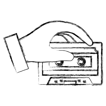 hand with retro cassette vector illustration design
