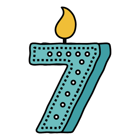 Birthday candle with number seven vector illustration design Vectores