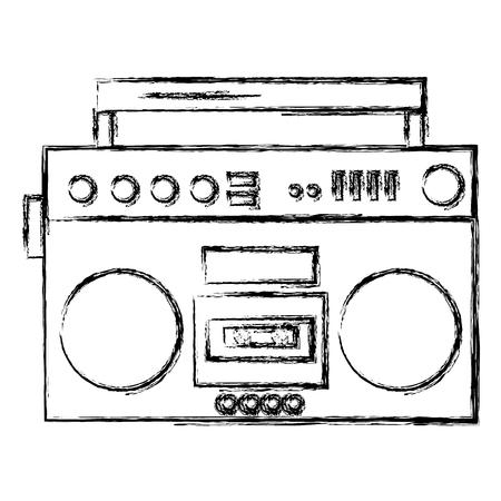 radio cassette vintage style vector illustration design 일러스트