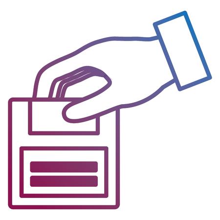 hand with floppy disk retro icon vector illustration design Stok Fotoğraf - 99662418
