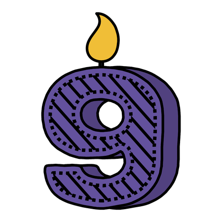 birthday candle with number nine vector illustration design