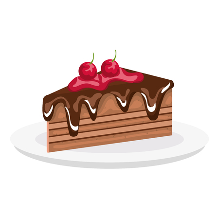 Dish with delicious cake portion vector illustration design.