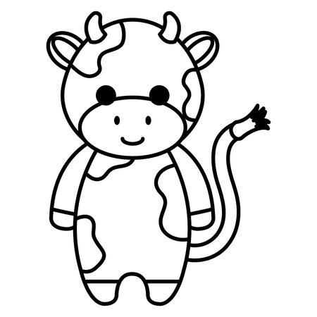 かわいいと小さな牛のキャラクターベクトルイラストデザイン