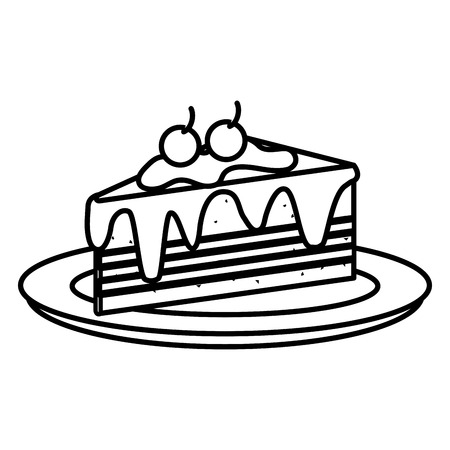 dish with delicious cake portion vector illustration design