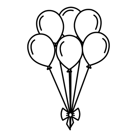 party balloons with bow celebration vector illustration design 일러스트