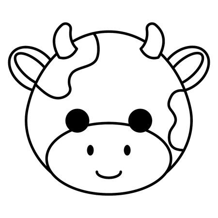 かわいいと小さな牛の頭の文字ベクトルイラストデザイン