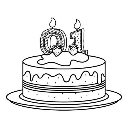 delicious cake with candle number zero and one celebration vector illustration Illustration