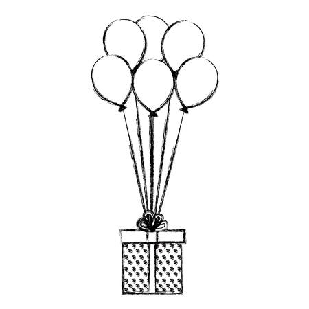 balloons air with gift box present vector illustration design