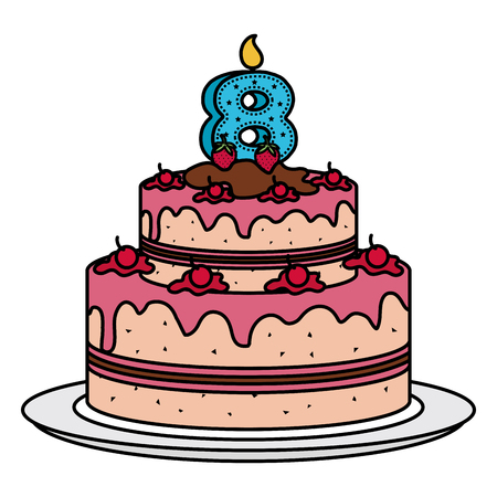 delicious cake with candle number eight celebration vector illustration design Vettoriali