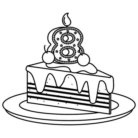 delicious cake portion with number eight vector illustration design