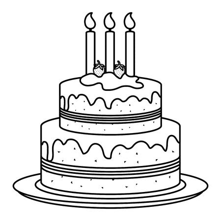 dish with delicious cake celebration vector illustration design