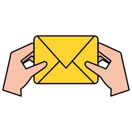 Hands with envelope mail vector illustration design