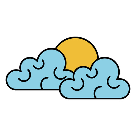 clouds sky with sun vector illustration design Иллюстрация