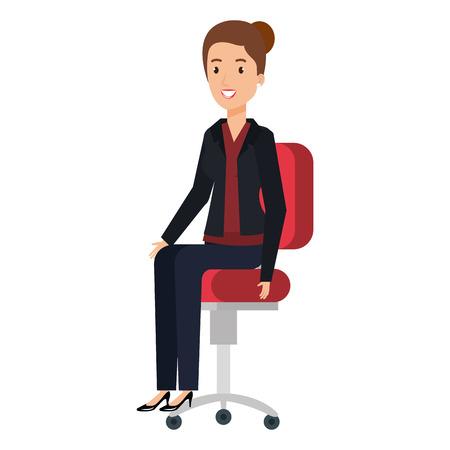 businesswoman sitting in office chair vector illustration design
