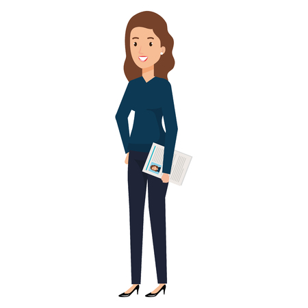 businesswoman with curriculum avatar character vector illustration design