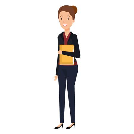 businesswoman with folder documents avatar character vector illustration Çizim