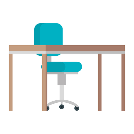 office chair with desk wooden vector illustration design Vectores