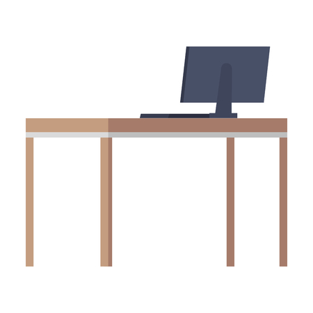 desktop computer in desk wooden vector illustration design