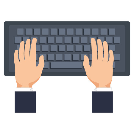 hands using computer keyboard vector illustration design