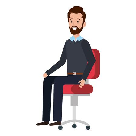 businessman sitting in office chair vector illustration design Çizim