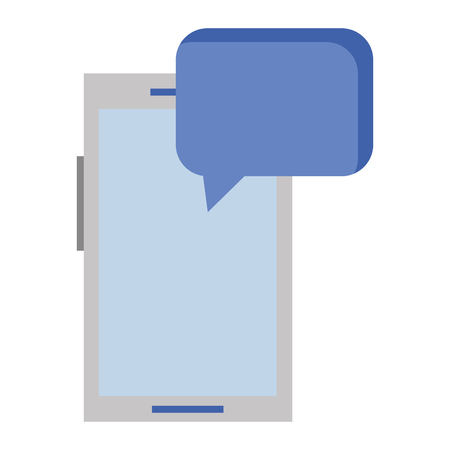 Mobile phone with speech bubble icon Illustration