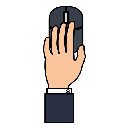 hand using computer mouse vector illustration design